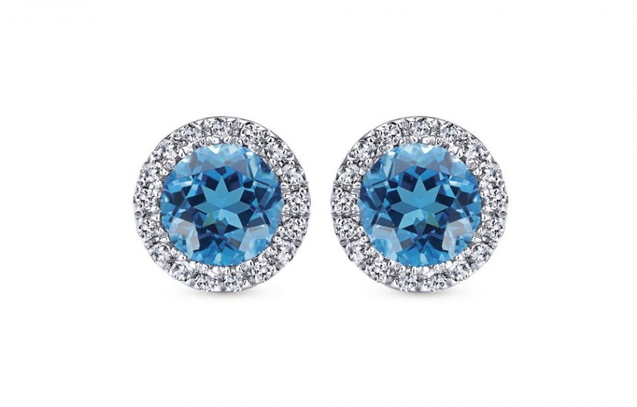 Gabriel & Co. 14k White Gold Diamond Swiss Blue Topaz Stud Earrings