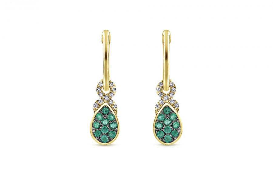 Gabriel & Co. 14k Yellow Gold Emerald Huggies Drop Earrings