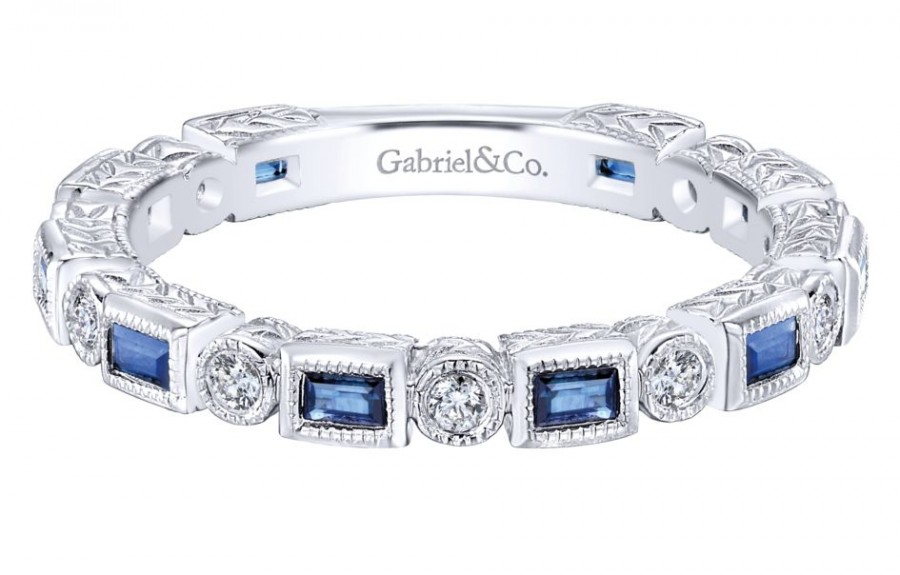 Gabriel & Co. 14k White Gold Diamond And Sapphire Stackable Ladies Ring