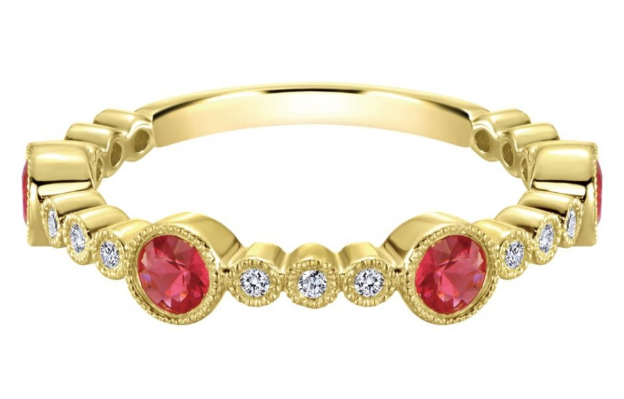 Gabriel & Co. 14k Yellow Gold Diamond And Ruby Stackable Ladies Ring