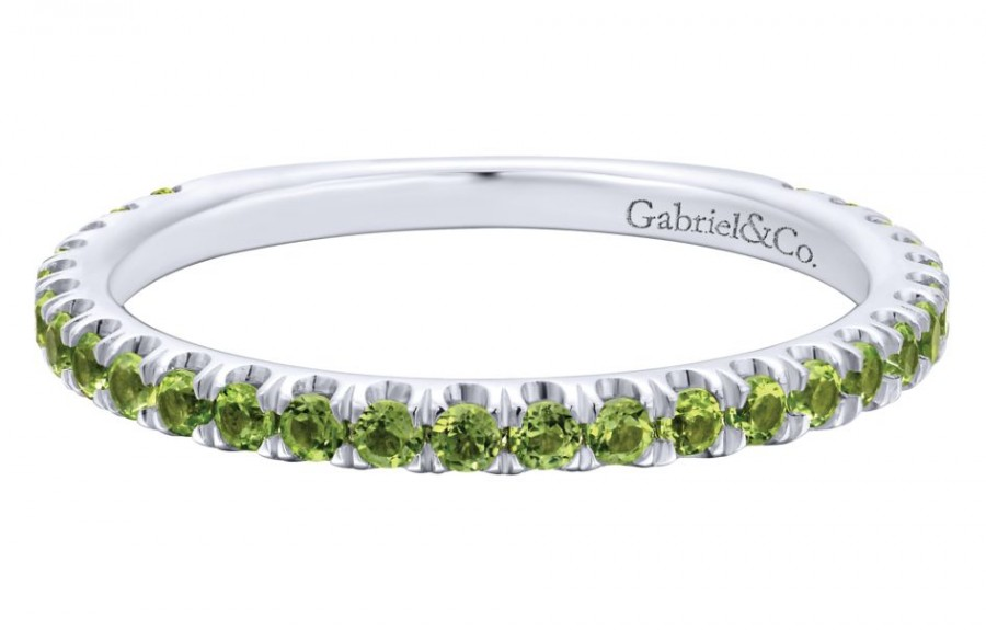 Gabriel & Co. 14k White Gold Pave Peridot Stackable Ladies Ring