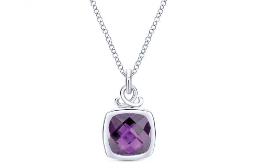 Gabriel & Co 925 Silver Amethyst Fashion Necklace