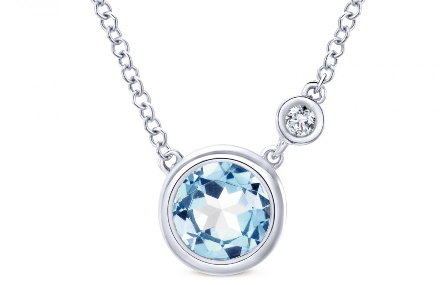 Gabriel & Co. 925 Silver Color Solitaire Aquamarine Fashion Necklace
