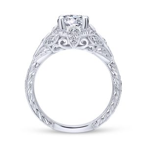 Annadale Vintage 14k White Gold Round Halo Engagement Ring ER12579R4W44JJ