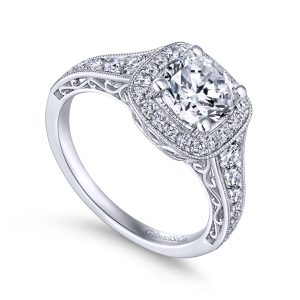 Florence 14k White Gold Round Halo Engagement Ring ER7293W44JJ
