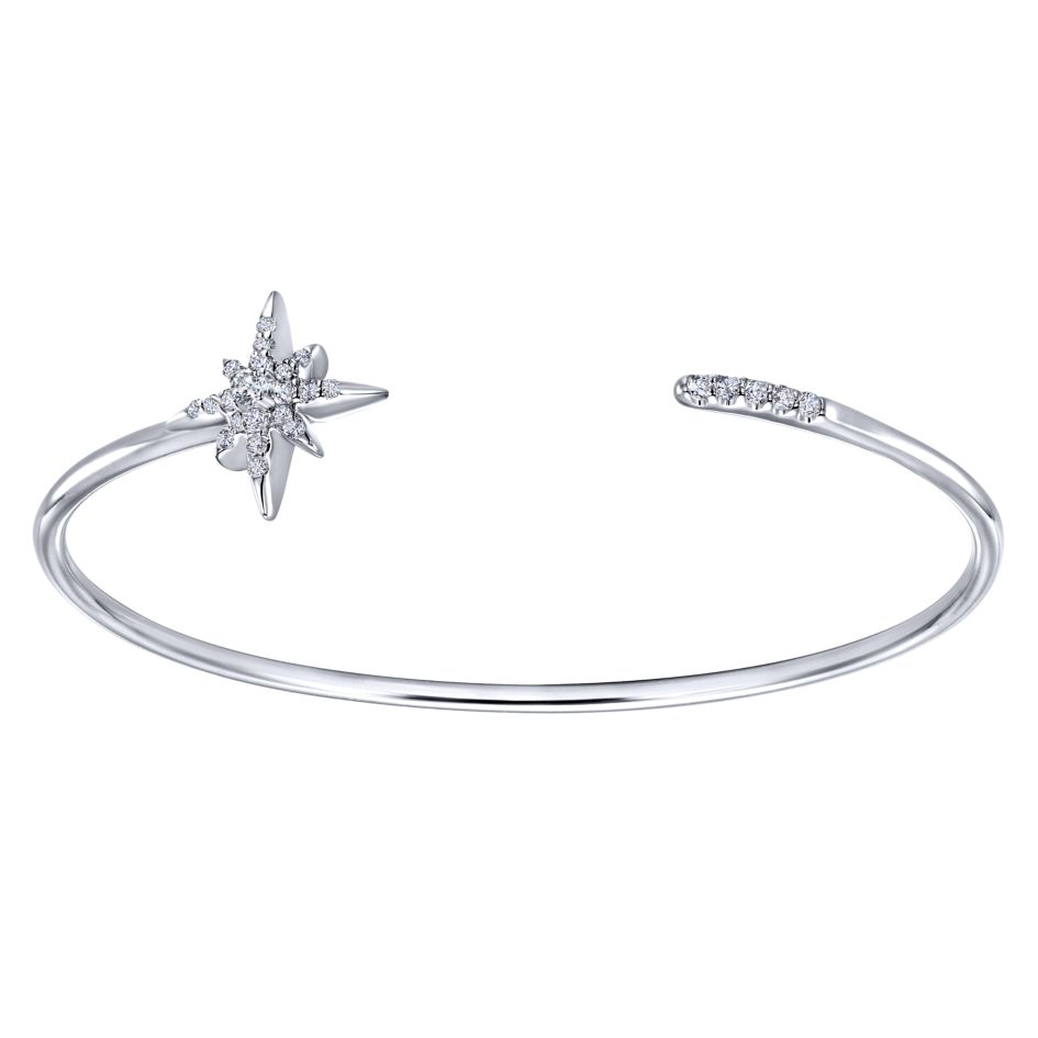 925 silver and white sapphire open cuff bangle with a starburst motif