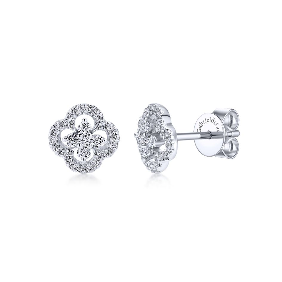 14K white gold clover cut-out diamond stud earrings