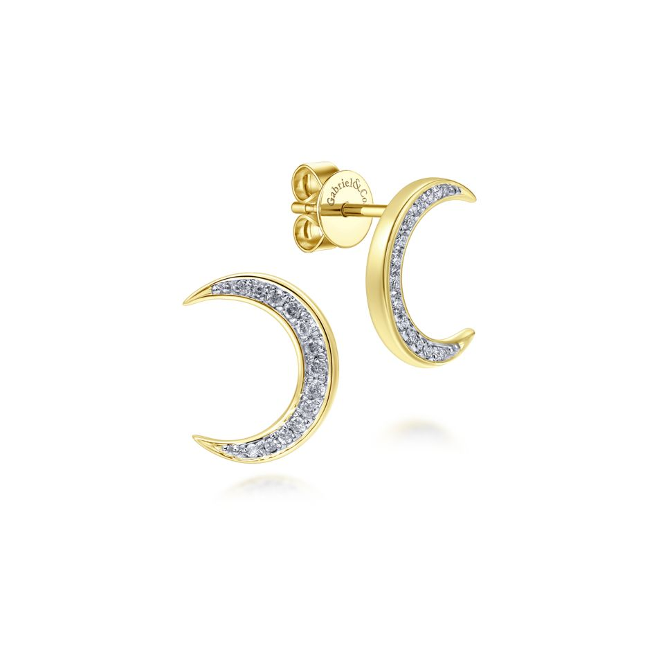 14k yellow gold crescent shaped gold stud earrings adorned with pavé diamonds