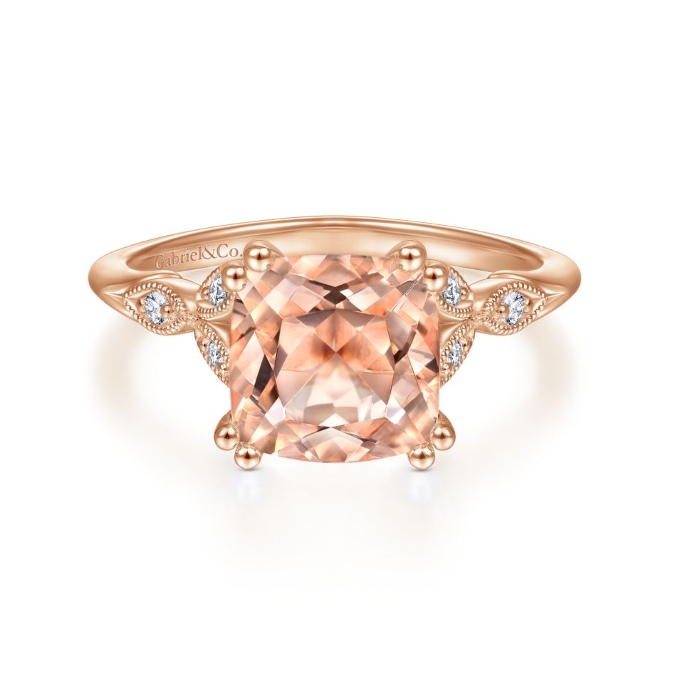 14k rose gold morganite shank featuring sculpted milgrain and .08ct diamond petals