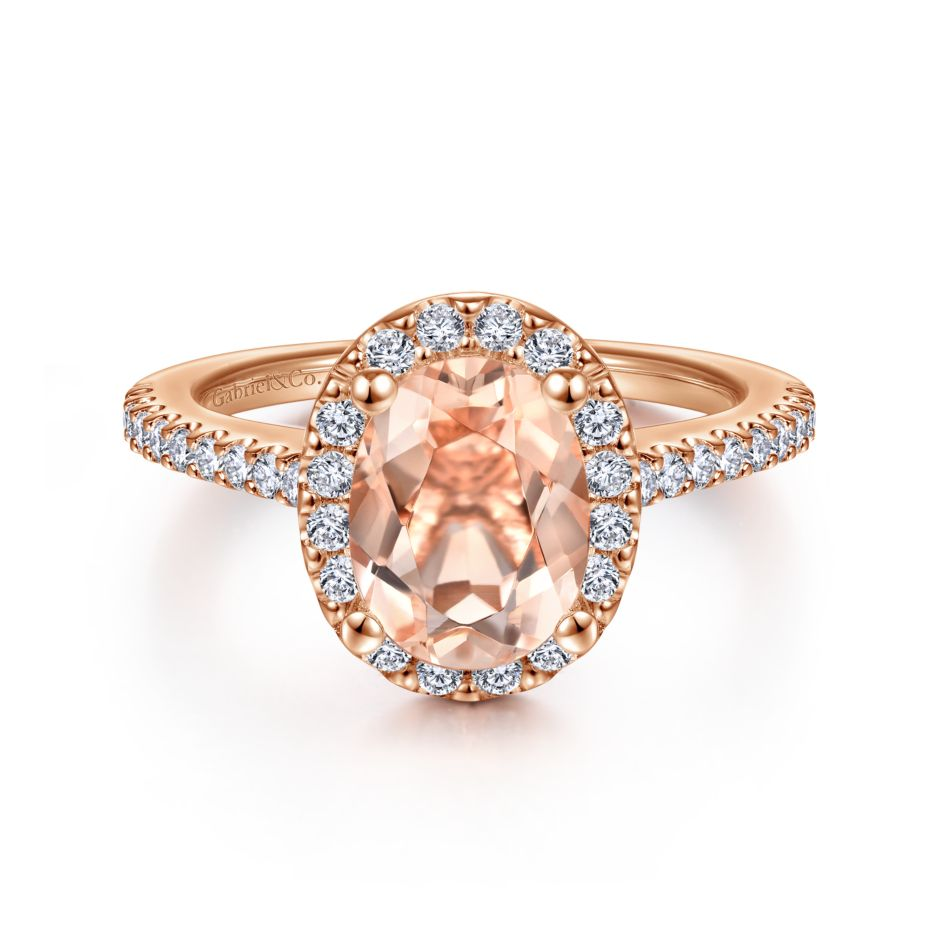 14K Pink Gold Morganite Oval Cut engagement ring