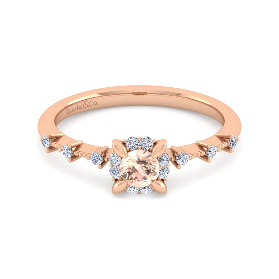 victorian inspired 14k rose gold morganite fashion ring