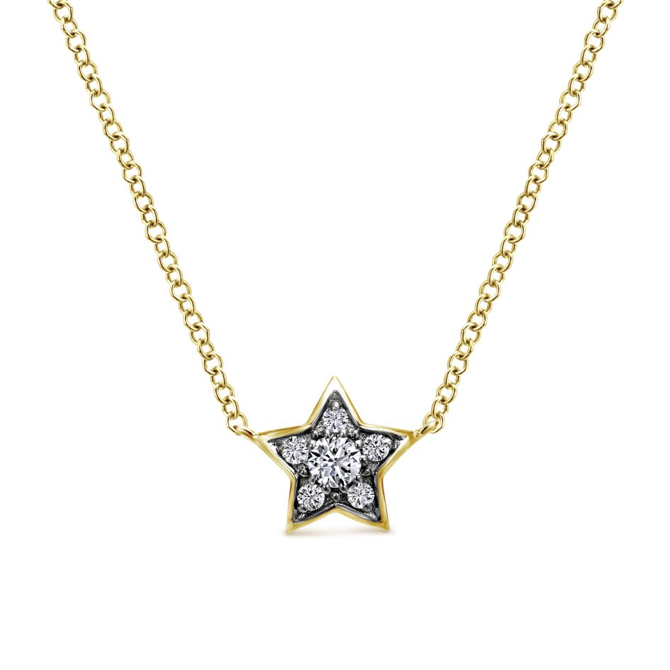 14K gold celestial star pendant with round diamonds