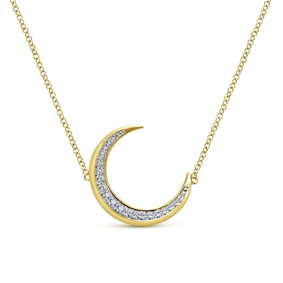 14K yellow gold crescent pendant lined with pavé diamonds