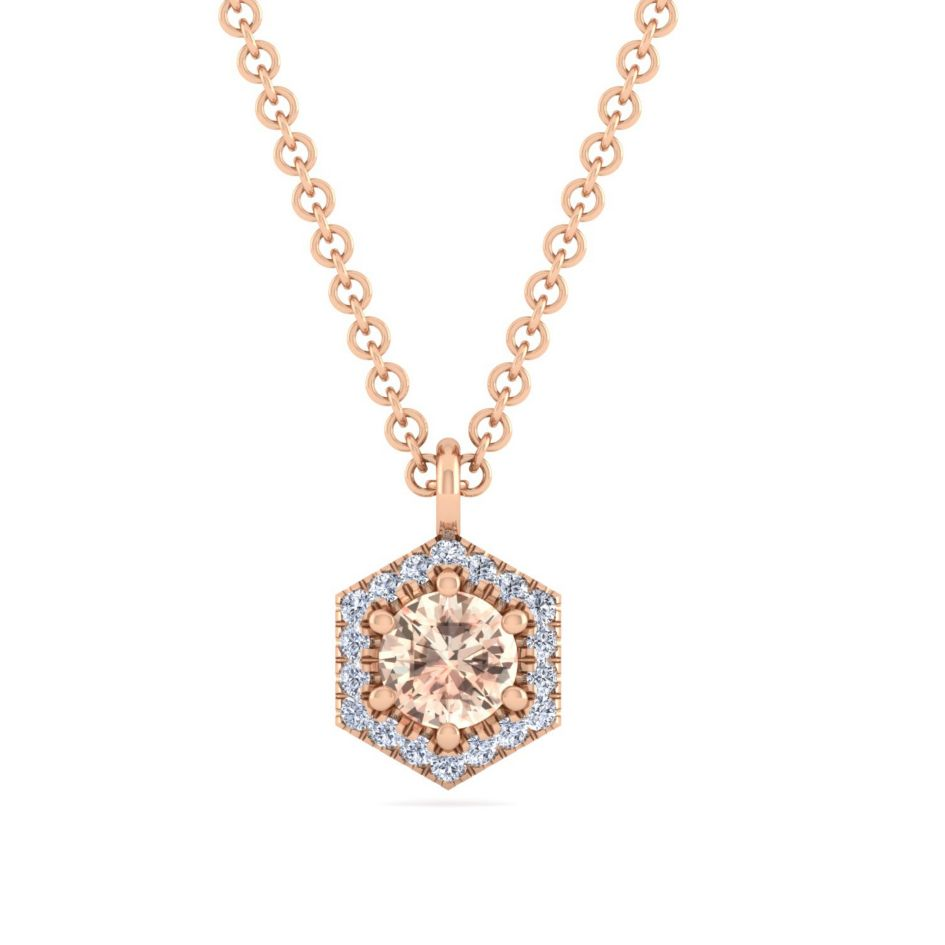 14k morganite hexagon shaped necklace